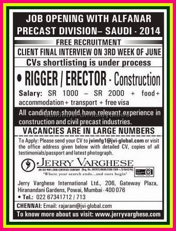 Alfanar Precast Division Jobs Free Recruitment for KSA