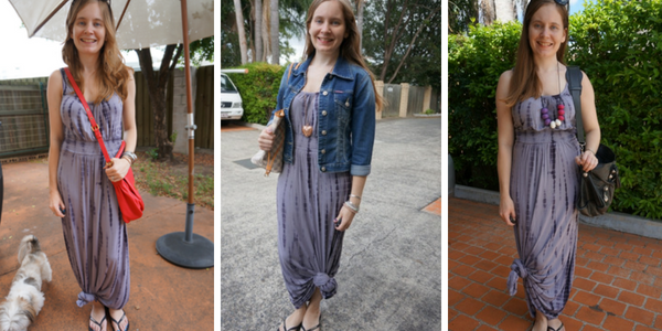 petite hack for wearing a maxi dress knotting the hem worn 3 ways | awayfromblue