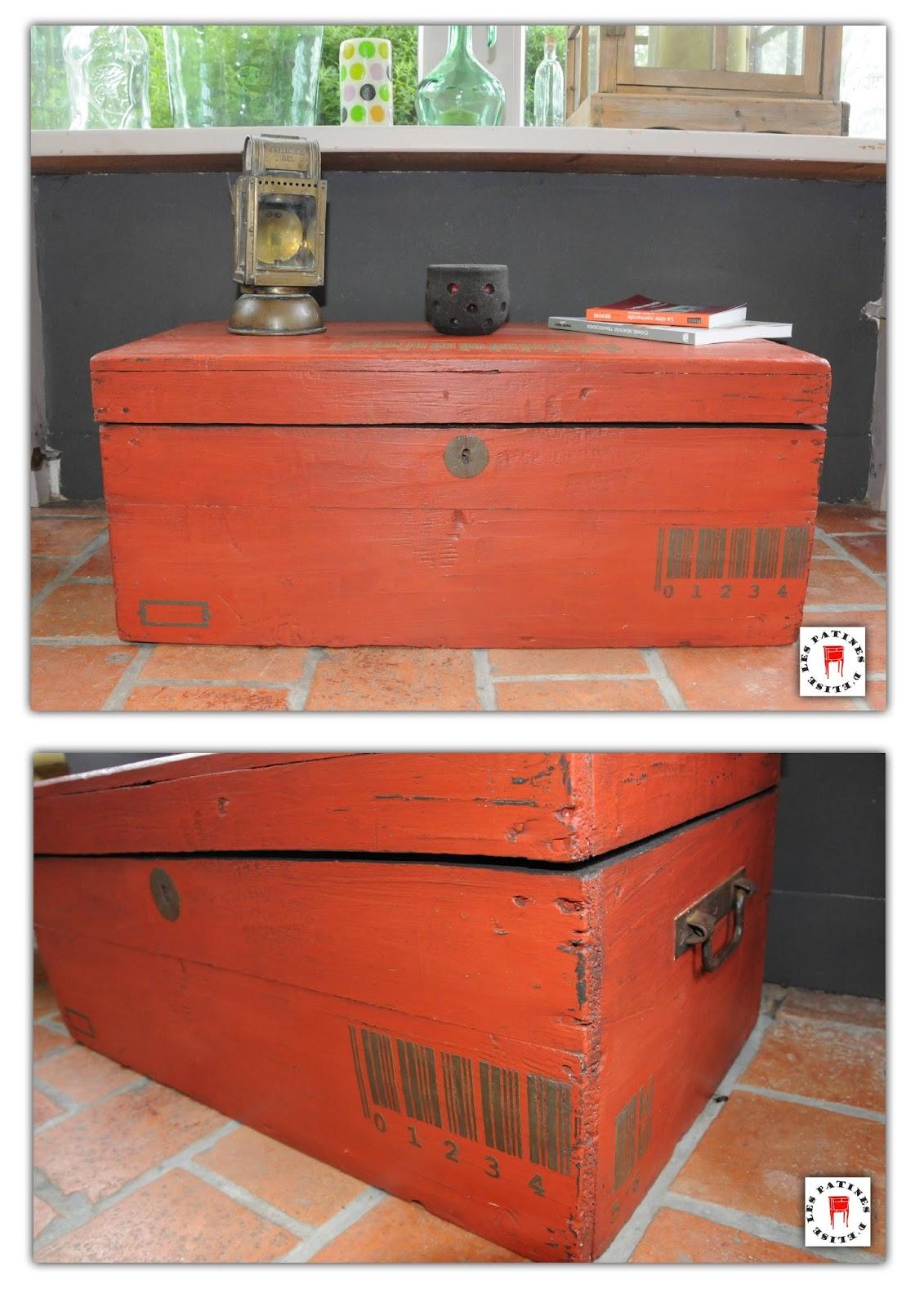 Les patines d 39 elise industriel Meuble patine rouge