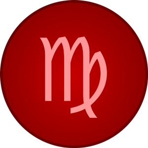 Imagen del signo del zodiaco Virgo dentro de un circulo rojo