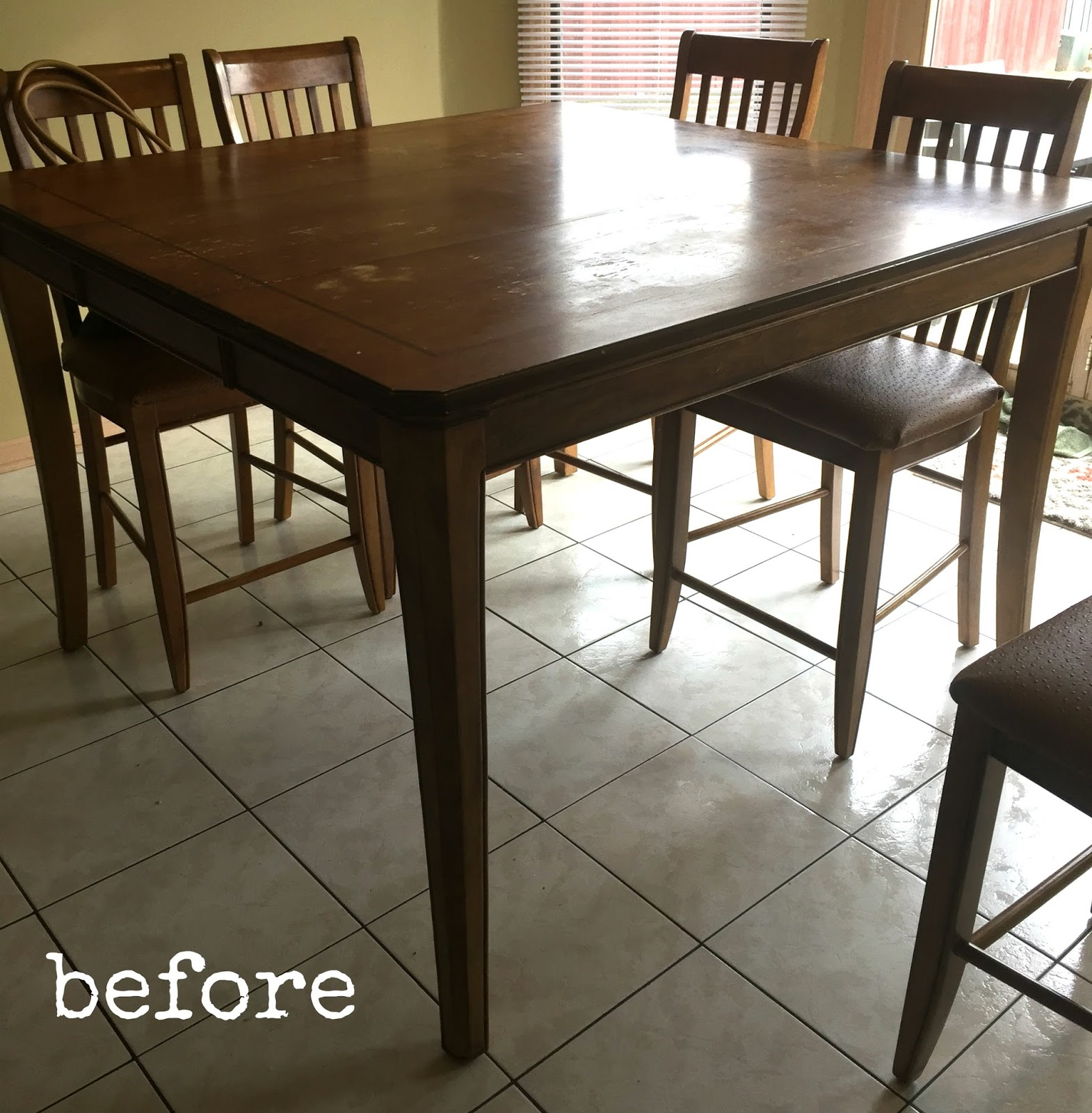the lucky winner contacted me early in and we went right to work bringing life back to her much used dining table