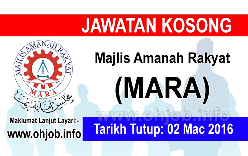 Jawatan Kerja Kosong Majlis Amanah Rakyat (MARA) logo www.ohjob.info mac 2016