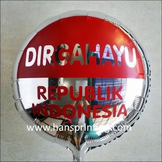 "Printing Balon Foil / Sablon Balon Foil ""DIRGAHAYU REPUBLIK INDONESIA"""