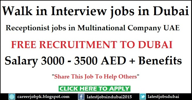 Walk in Interview in Dubai for female Receptionist jobs