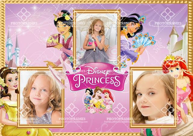 Bonito marco para 3 fotos de las princesas de Disney