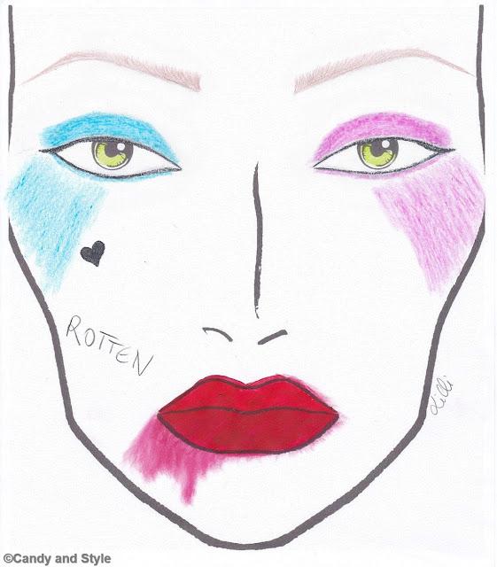 Harley Quinn Makeup - Halloween Face Chart
