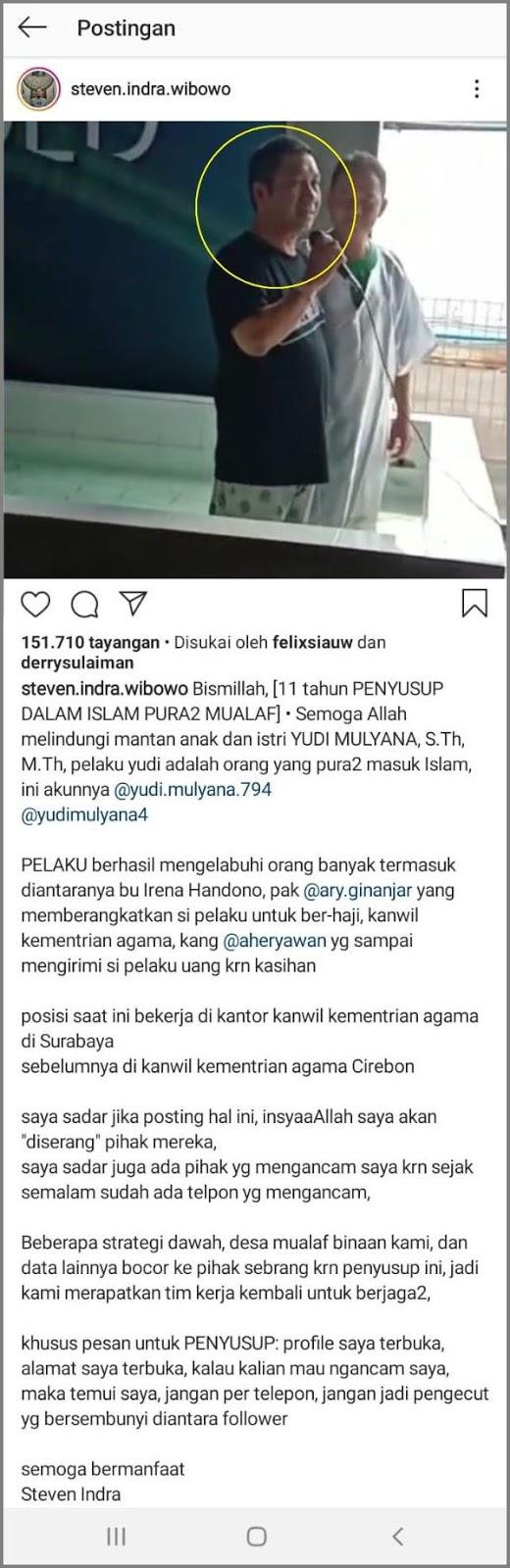Steven Indra Wibowo Ungkap: Yudi Pura-pura Masuk Islam