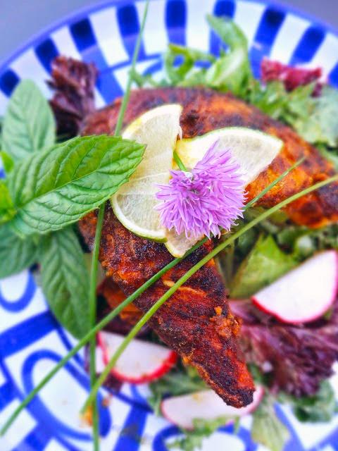 Tandoori-style Charred Salmon And Vegetables Recipe — Dishmaps