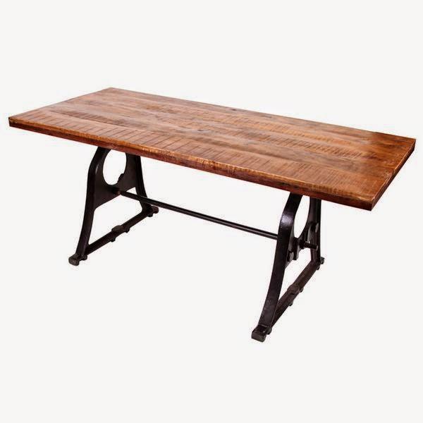 mesa comedor rustica de forja y madera