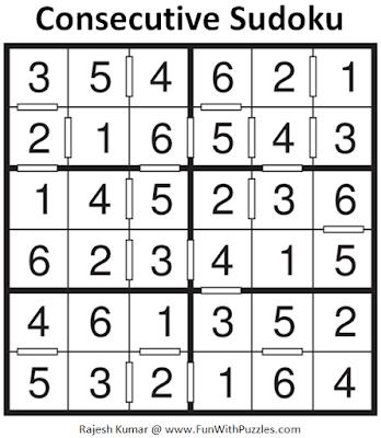 Consecutive Sudoku Puzzle (Mini Sudoku Series #106) Solution