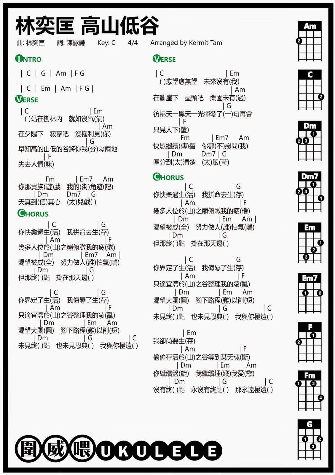 圍威喂 ukulele: 林奕匡 高山低谷 [ukulele譜 + Cover + 教學]