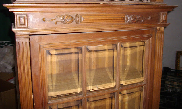 ancienne vitrine bibliotheque bois vitres verres biseaut es. Black Bedroom Furniture Sets. Home Design Ideas