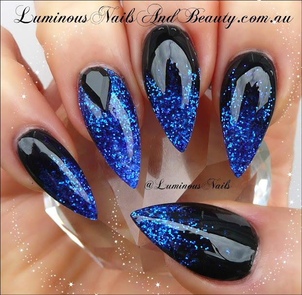 royal blue and silver nail design