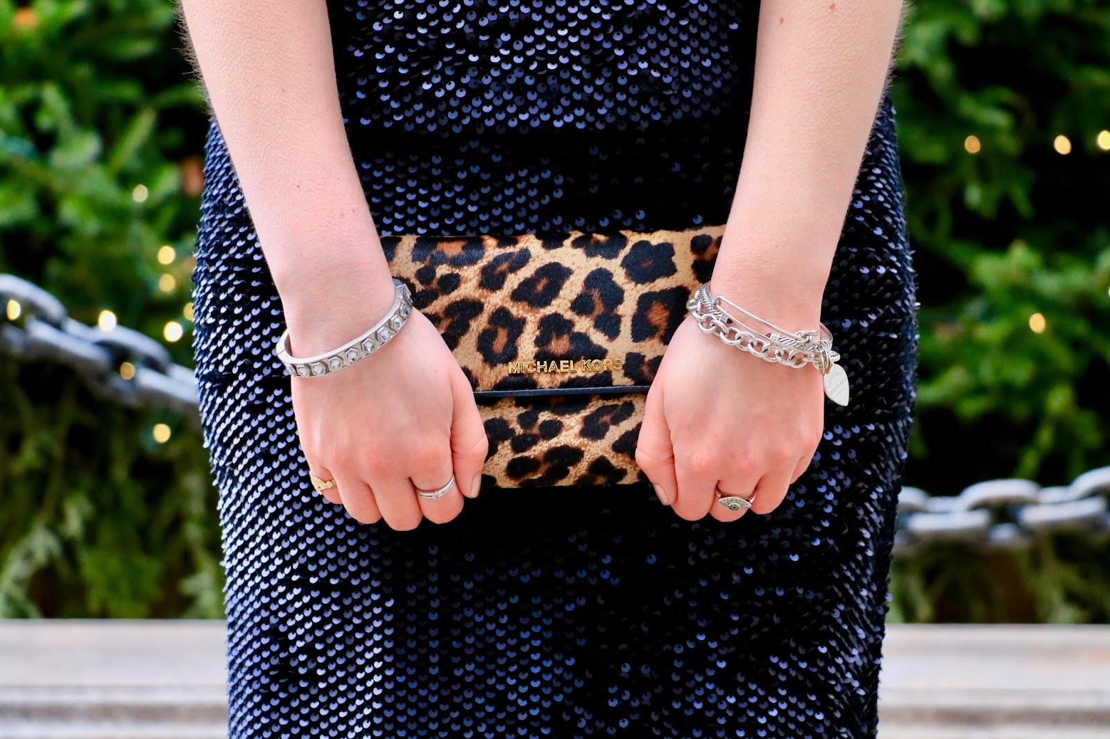 michael kors leopard clutch