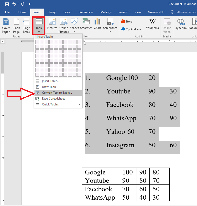 how to add a column on a table on word