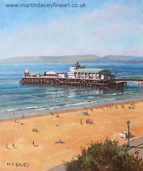 Bournemouth Pier summer morning from cliff top-oil painting