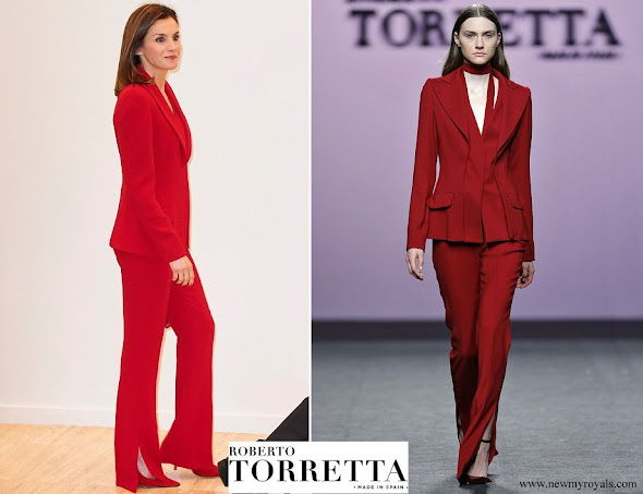 Queen Letizia wore Roberto Torretta suit from Fall Winter 2017-2018 collection