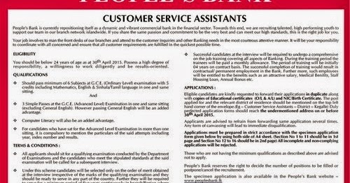 Peoples Bank Customer Service Assistant Vacancies  Application  Info Squart