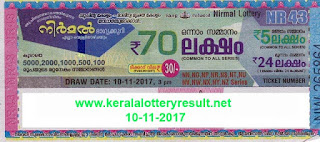 KERALA LOTTERY, kl result yesterday,lottery results, lotteries results, keralalotteries, kerala lottery, keralalotteryresult,   kerala lottery result, kerala lottery result live, kerala lottery results, kerala lottery today, kerala lottery result today, kerala   lottery results today, today kerala lottery result, kerala lottery result 10-11-2017, Nirmal lottery results, kerala lottery result   today Nirmal, Nirmal lottery result, kerala lottery result Nirmal today, kerala lottery Nirmal today result, Nirmal kerala lottery   result, NIRMAL LOTTERY NR 43 RESULTS 10-11-2017, NIRMAL LOTTERY NR 43, live NIRMAL LOTTERY NR-43,   Nirmal lottery, kerala lottery today result Nirmal, NIRMAL LOTTERY NR-43, today Nirmal lottery result, Nirmal lottery   today result, Nirmal lottery results today, today kerala lottery result Nirmal, kerala lottery results today Nirmal, Nirmal   lottery today, today lottery result Nirmal, Nirmal lottery result today, kerala lottery result live, kerala lottery bumper result,   kerala lottery result yesterday, kerala lottery result today, kerala online lottery results, kerala lottery draw, kerala lottery   results, kerala state lottery today, kerala lottare, keralalotteries com kerala lottery result, lottery today, kerala lottery today   draw result, kerala lottery online purchase, kerala lottery online buy, buy kerala lottery online