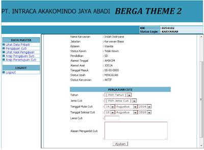 Source Code gratis Sistem Pengajuan Izin Cuti Karyawan Berbasis Web PHP +  Mysql 'Siap Pakai'