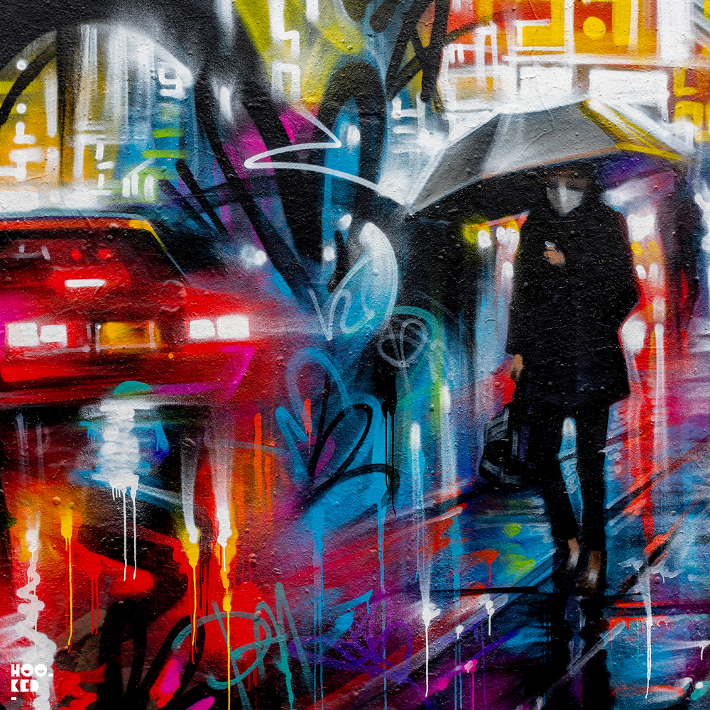 New Dan Kitchener Street Art in Brick Lane, close up detail