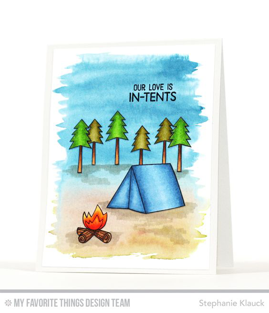 Our Love is In-tents Card by Stephanie Klauck featuring the Warm & Fuzzy Friends Card Kit #mftstamps