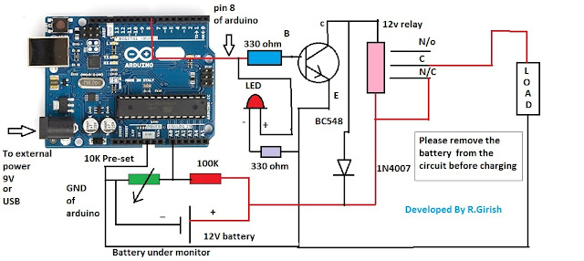 Battery Over Discharge Protection Circuit Using Arduino