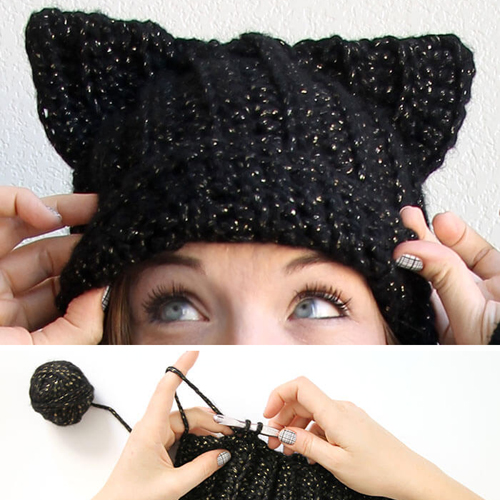 Black Cat Slouch Hat - Free Pattern