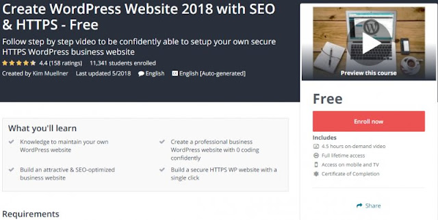 [100% Free] Create WordPress Website 2018 with SEO & HTTPS
