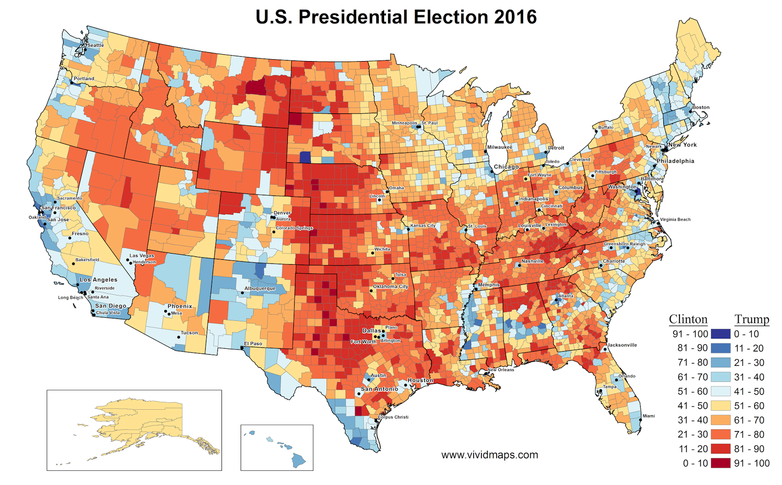 US Presidential Election Results In Three Maps Vivid Maps - Us election 2016 results map