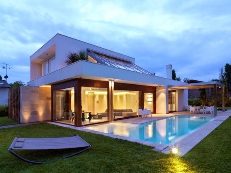 Decoraci n y afinidades casas modernas con piscina for Fotos de casas modernas con alberca