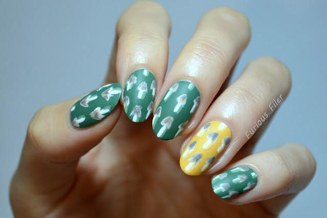 mushroom design nails tutorial quirky matte