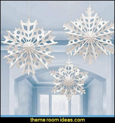 Snowflake Paper Hanging Decorations  Frozen themed birthday party ideas - Disney Princess Costumes - Disney Frozen Party Supplies Elsa, Anna, Olaf  - Disney Frozen theme - Frozen Birthday Invitations - frozen party supplies winter wonderland theme - snowflake themed birthday party - frozen costume - Frozen costumes - Frozen Elsa costumes -