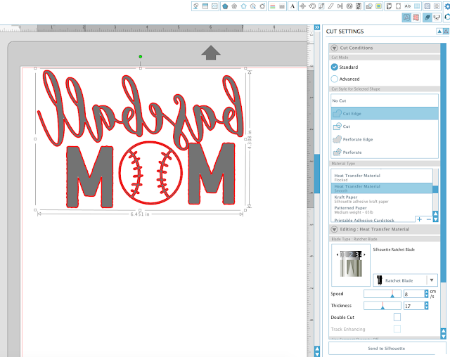 silhouette studio designs download baseball mom cut edge