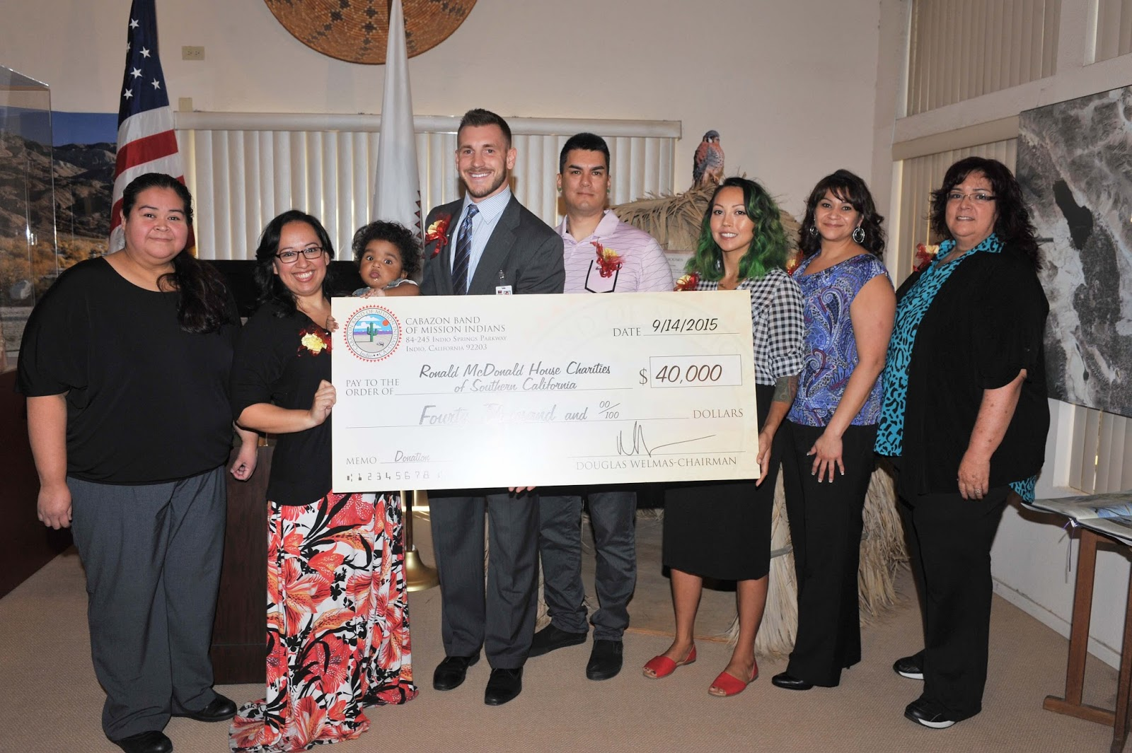 loma linda ronald mcdonald house receives 40 000 gift from the cabazon band of mission indians. Black Bedroom Furniture Sets. Home Design Ideas
