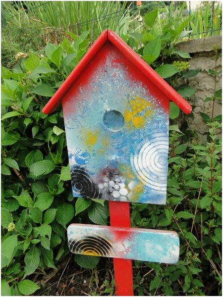Panneau décoratif jardin en bois peinture en bombe