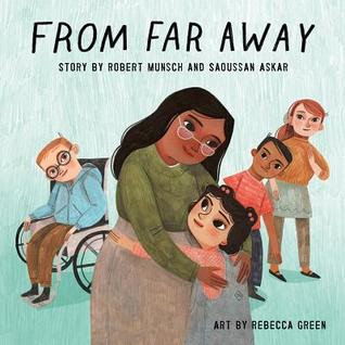 From Far Away gives a personal look at immigration and humanizes a sometimes abstract concept. The book addresses issues like violence head on by stating more than once that people were shot at in Saoussan's unnamed home country, but it is not graphic, just realistic. From Far Away is a good book for introducing or reinforcing the concept of immigration for elementary-aged children.