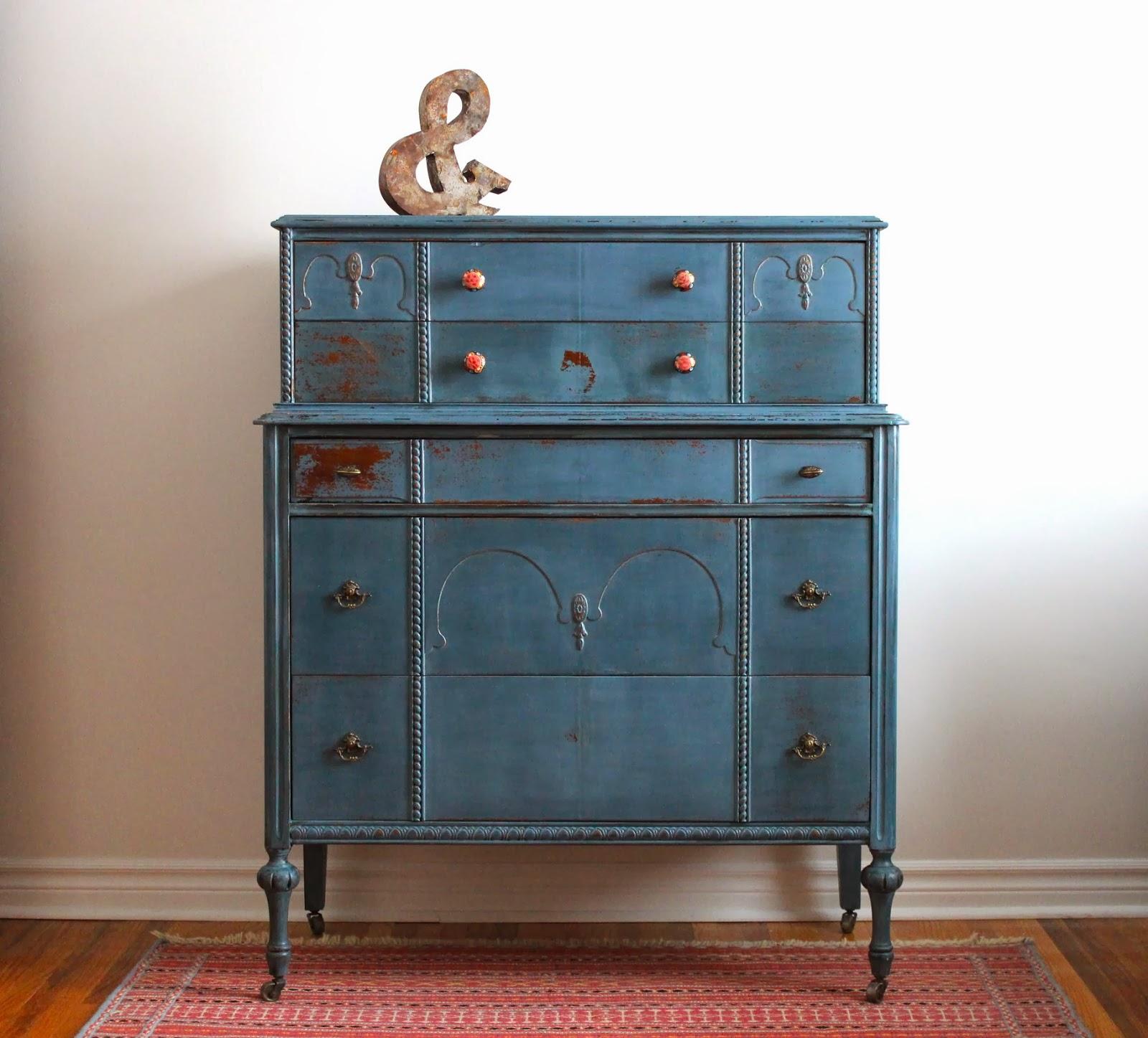 Poppyseed Creative Living Blue Tall Boy Dresser Another
