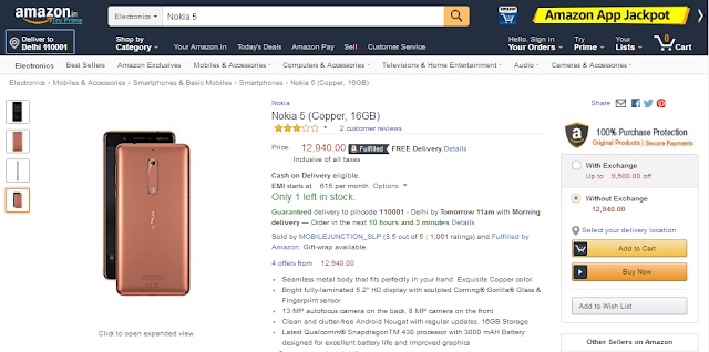 Nokia 5 Copper now available on Amazon.in