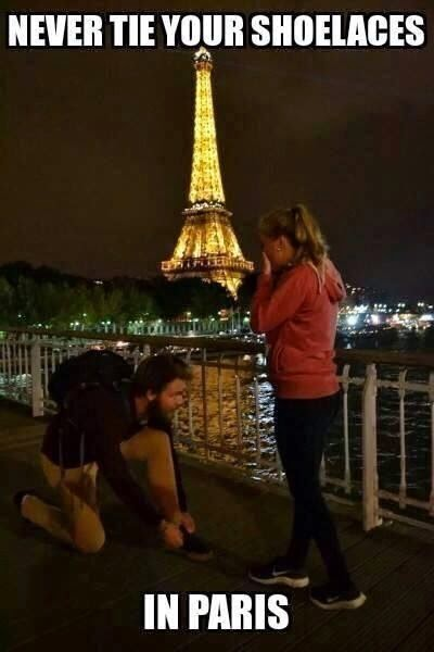 Funny never tie shoelaces in Paris joke picture
