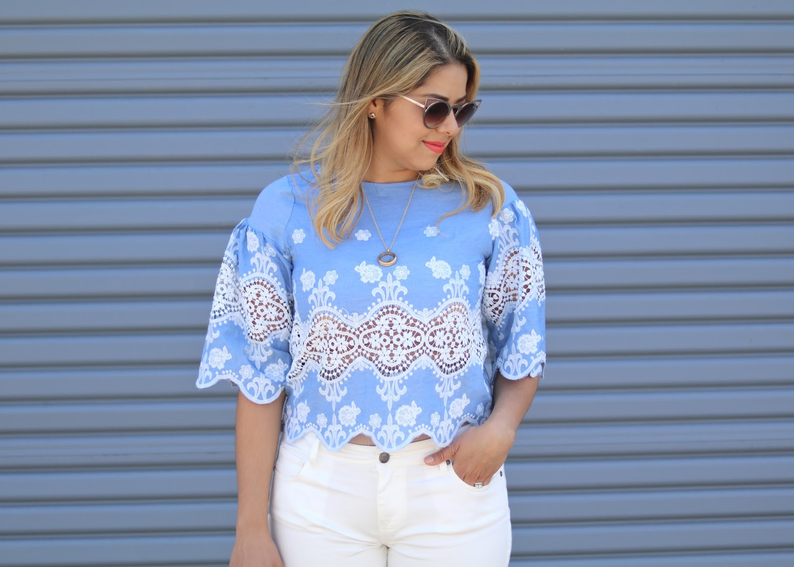 chicwish blogger, what to wear on cinco, cool short hair style, embroidered chambray top