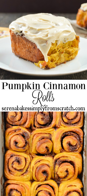 Pumpkin Cinnamon Rolls With Maple Cream Cheese Frosting. So good you won't just eat the center! serenabakessimplyfromscratch.com