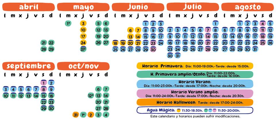 Calendario 2018 Isla Mágica