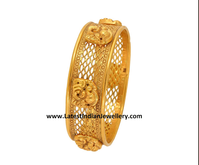 Swan Design Gold Bangle