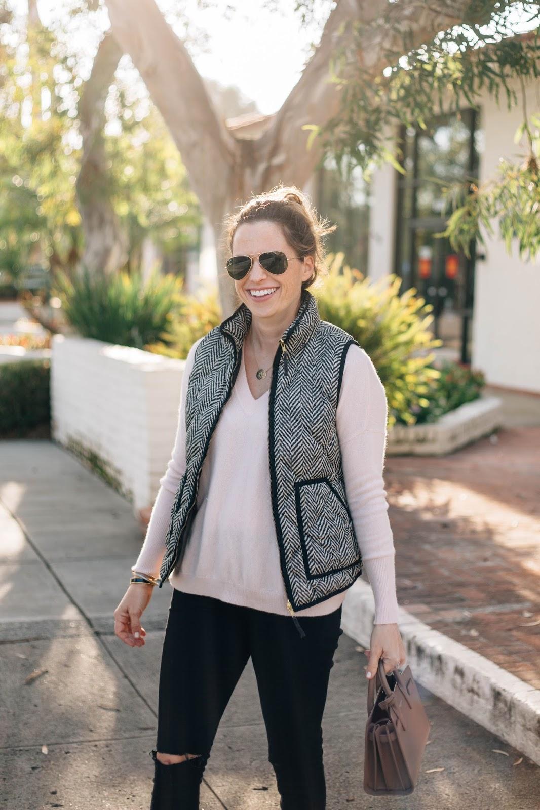 herringbone vest outfit