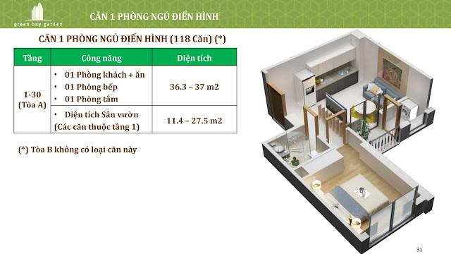 Thiết kế căn 01 phòng ngủ (loại điển hình)