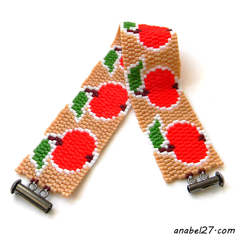 Peyote bracelet red apples beadwork jewelry beading beadweaving