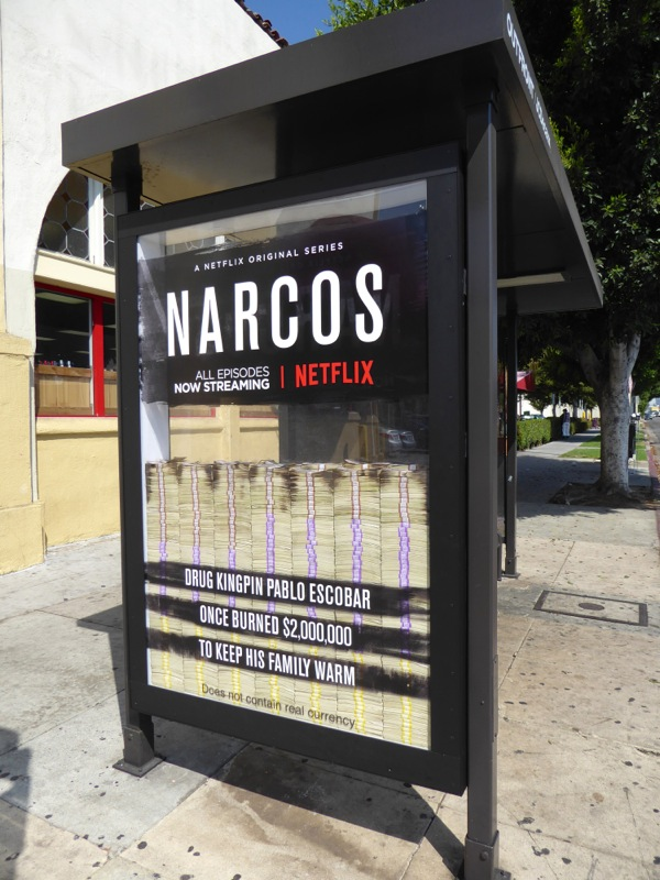 Netflix Narcos season 2 bus shelter ad installation
