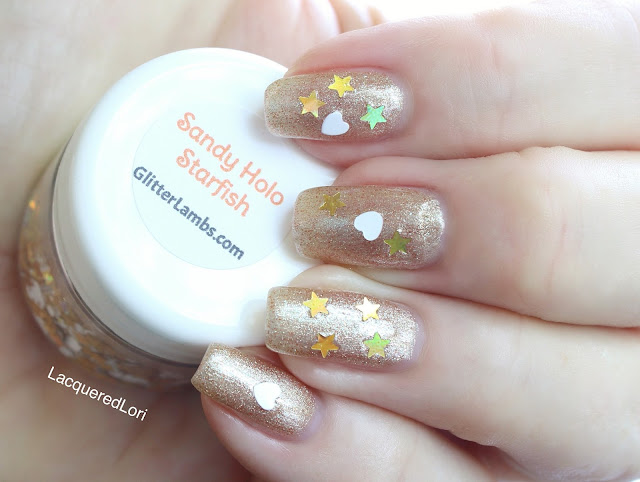 Sandy Holo Starfish Loose Glitter Mix-Gold Holographic Stars White Hearts