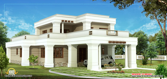 Double story square home design - 2615 Sq. Ft. (243 Sq. M.) (291 square yards) - March 2012